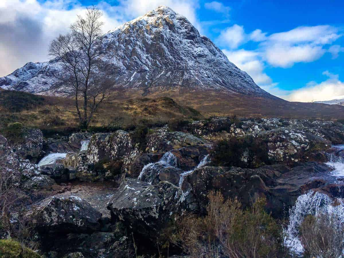 Snow dusted peak of Buachaille Etive Mor, one of the best hikes in Scotland