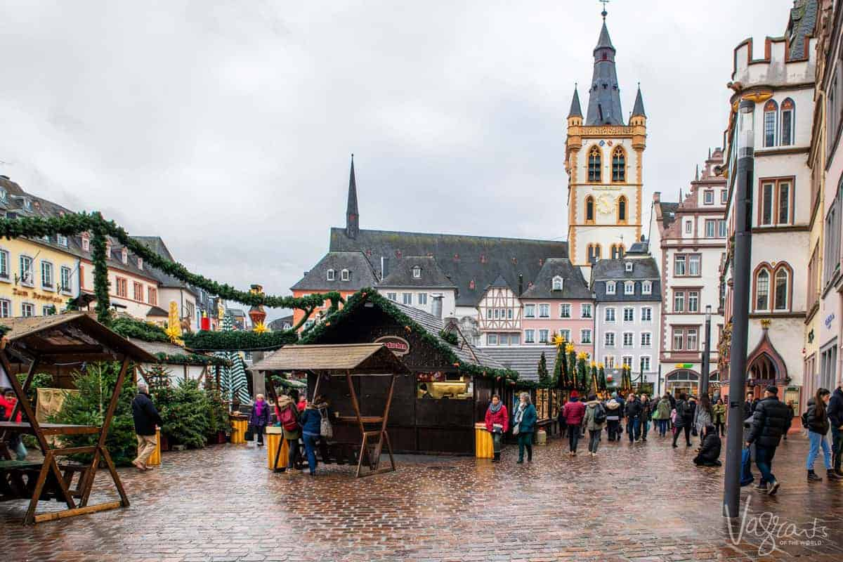 The market square of Trier Germany with the traditional architecture and Christmas markets.