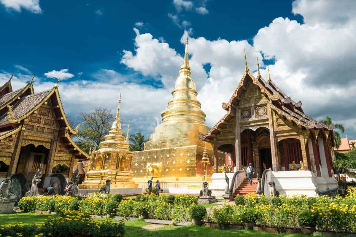 Wat Phra Sing temple in Chiang Mai Thailand. One stop on a 3 day Chiang Mai itinerary