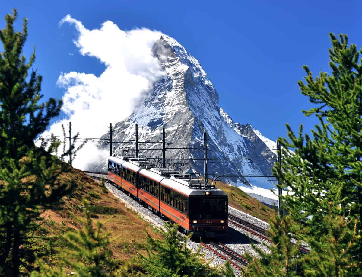 The Gornergrat cog train that runs between Zermatt and the Matterhorn peak.