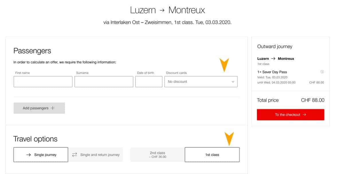 A page view of the SBB booking site to show how to book Golden Pass Line tickets from Interlaken to Montreux Switzerland.