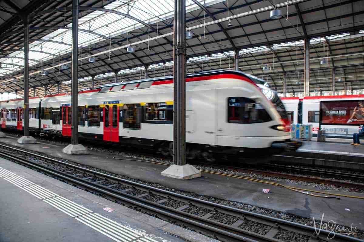 Modern train at Lucerne station