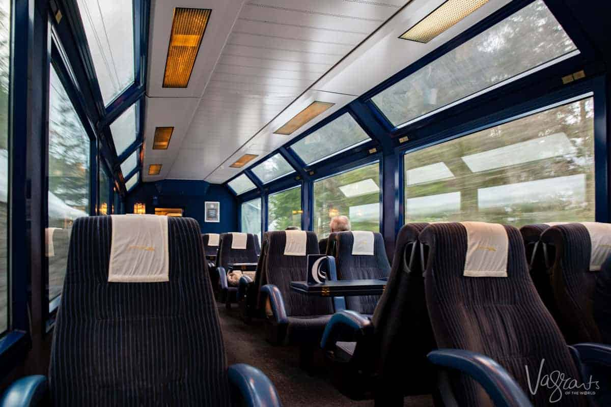 Inside the Panoramic Golden Pass Train, unobstructed views no matter where you sit.