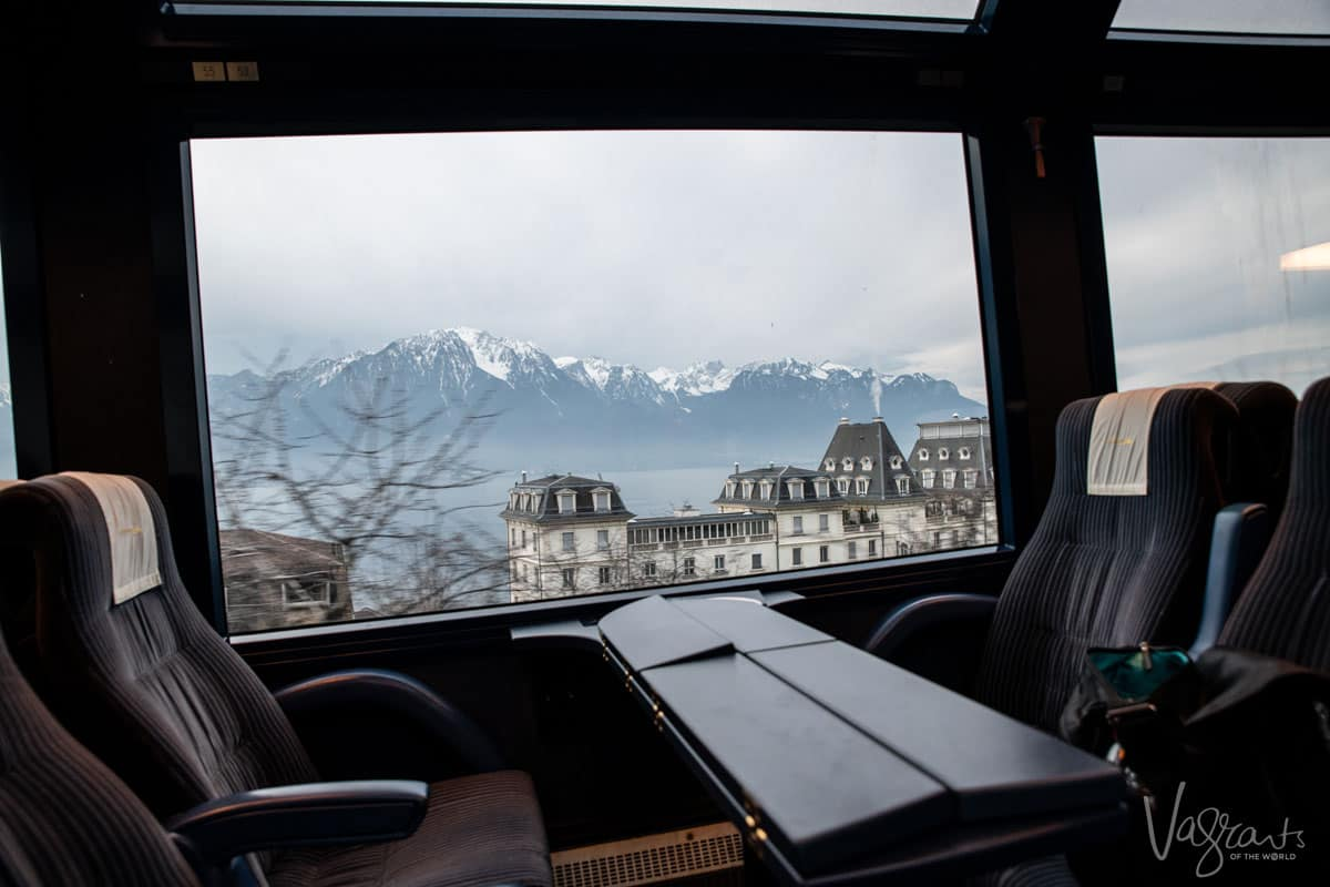 Lake Geneva from the Golden Pass Train with the Swiss Alps in the background