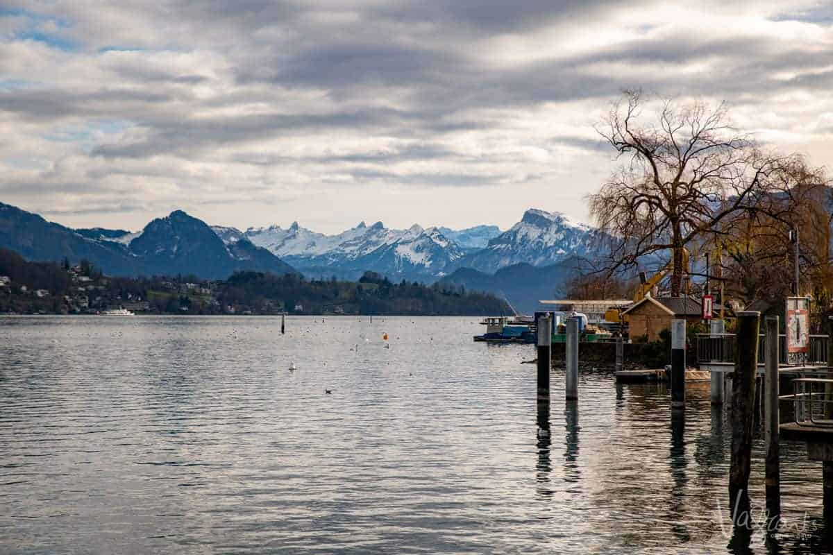 Lake Lucerne Switzerland with jetty's and boat shed.