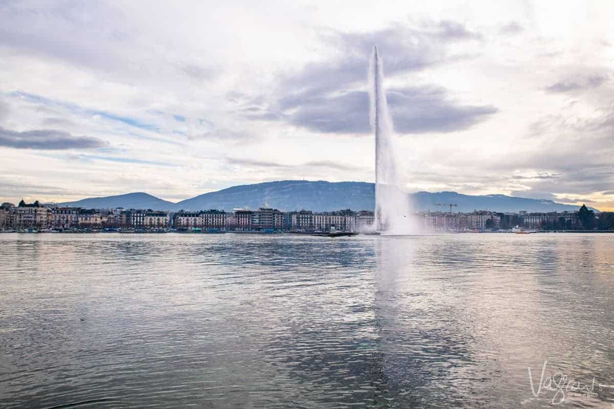 Lake Geneva and the spouting, Jet d'Eau fountain