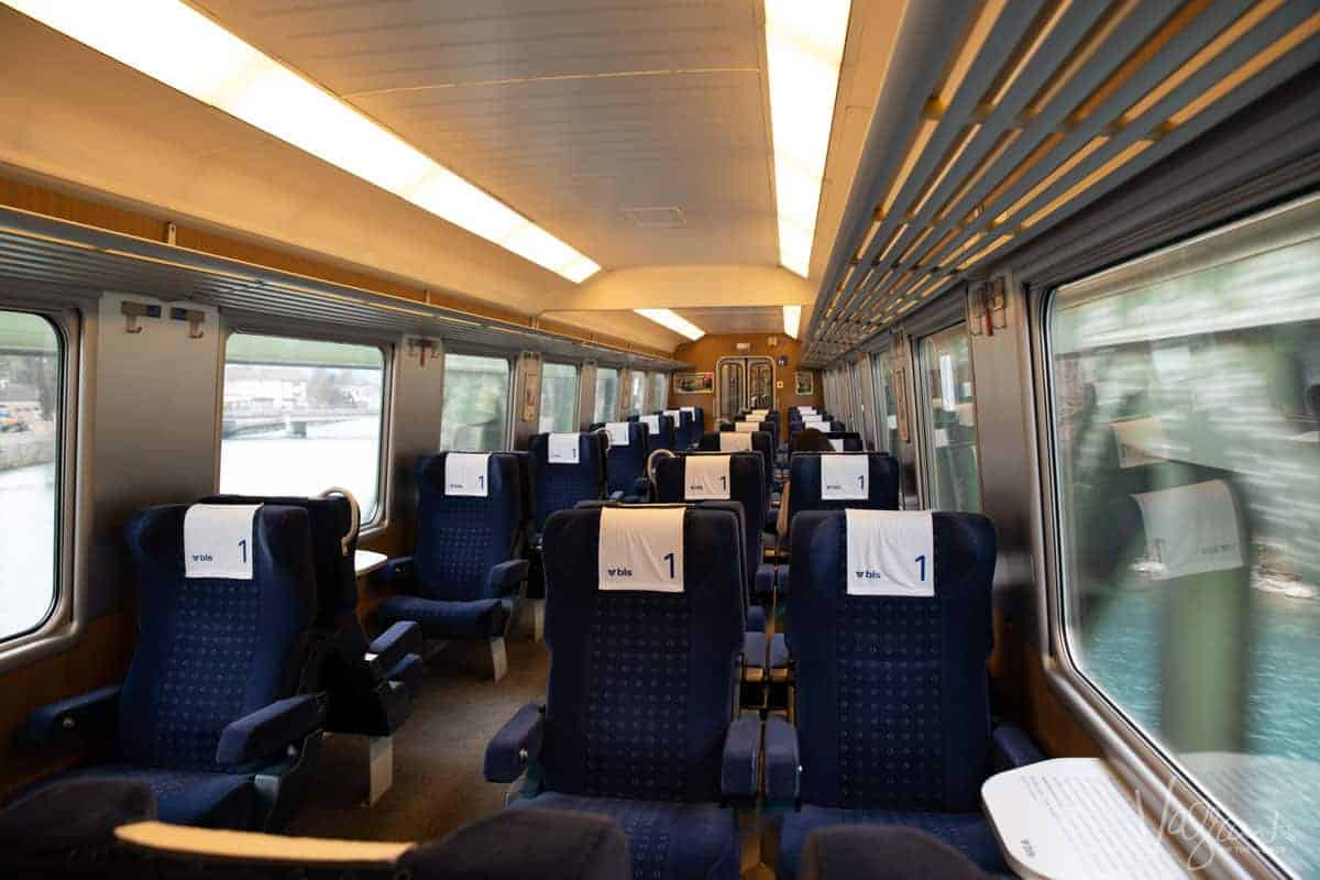 First Class Panoramic train carriage on the BLS RegioExpress between Interlaken Ost and Zweisimmen, Golden Pass Line