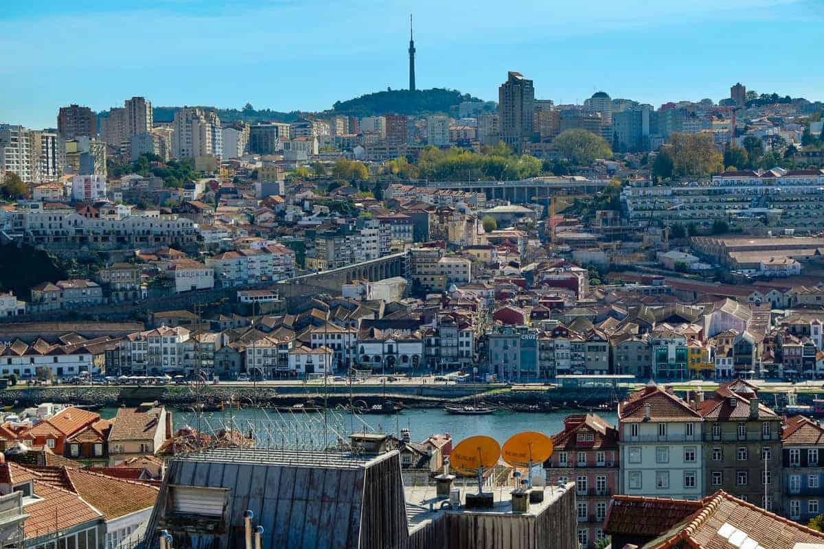 Rooftops across Miradouro da Vitoria over Porto