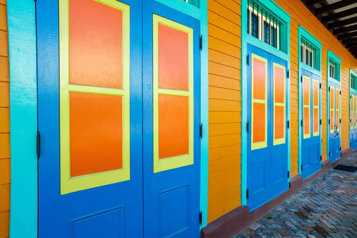 Brightly painted buildings in Marigny district, one of the best places to stay in New Orleans