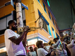 Brass band playing in the streets of New Orleans