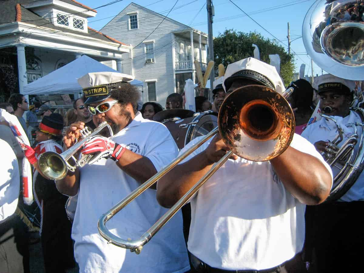 Brass band playing at a New Orleans festival