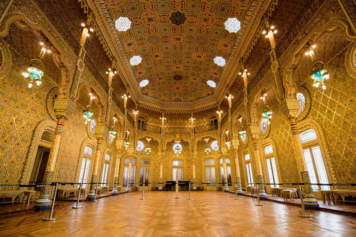 The shimmering golden Arab Room at the Palacio de Bolsa, the Porto Stock Exchange.