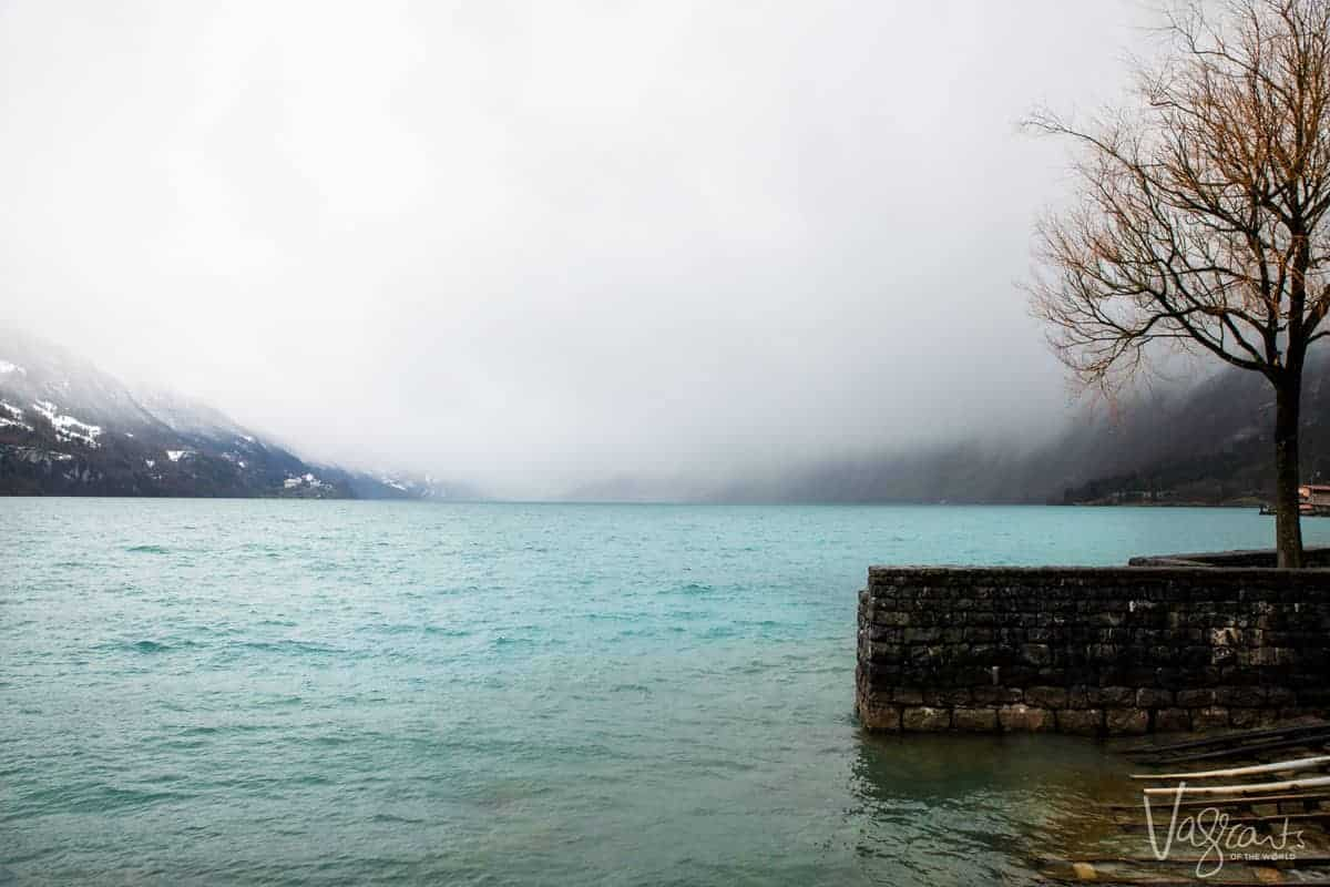 A storm rolls in over Lake Brienz in Switzerland
