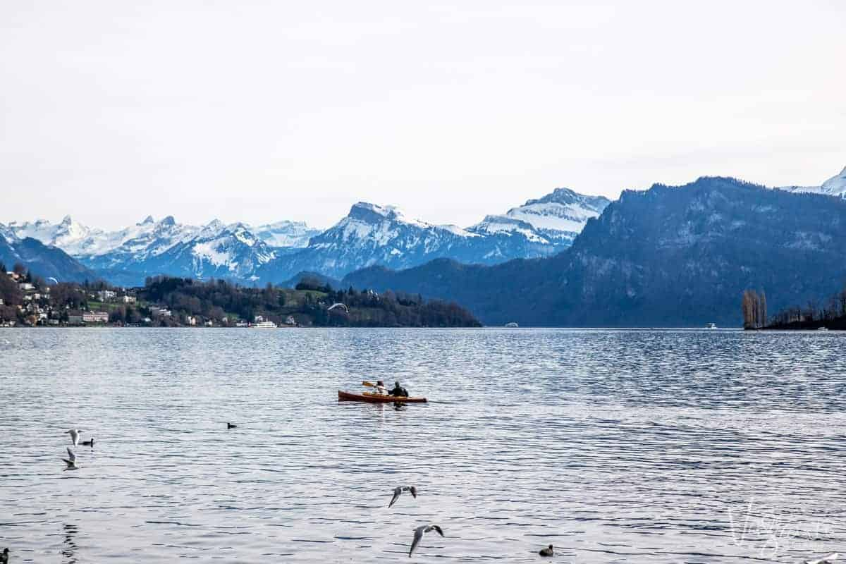 People kayaking across Lake Lucerne with the Swiss Alps in the background