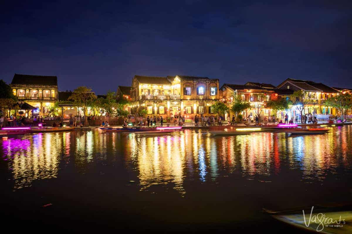 Watching the lanterns on the river boats is a popular thing to do in Hoi An at night.