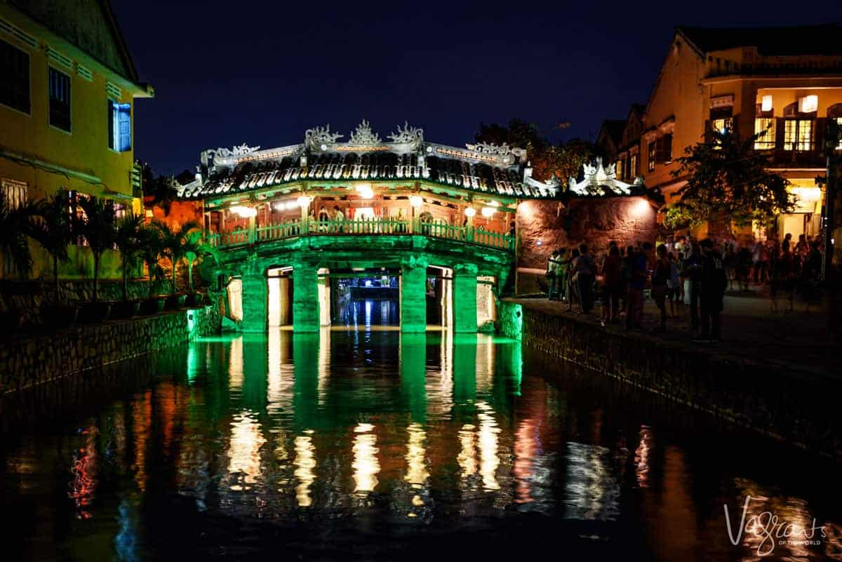 The Japanese covered bridge in Hoi An Vietnam lit up at night. One of the most popular attractions in Hoi An.