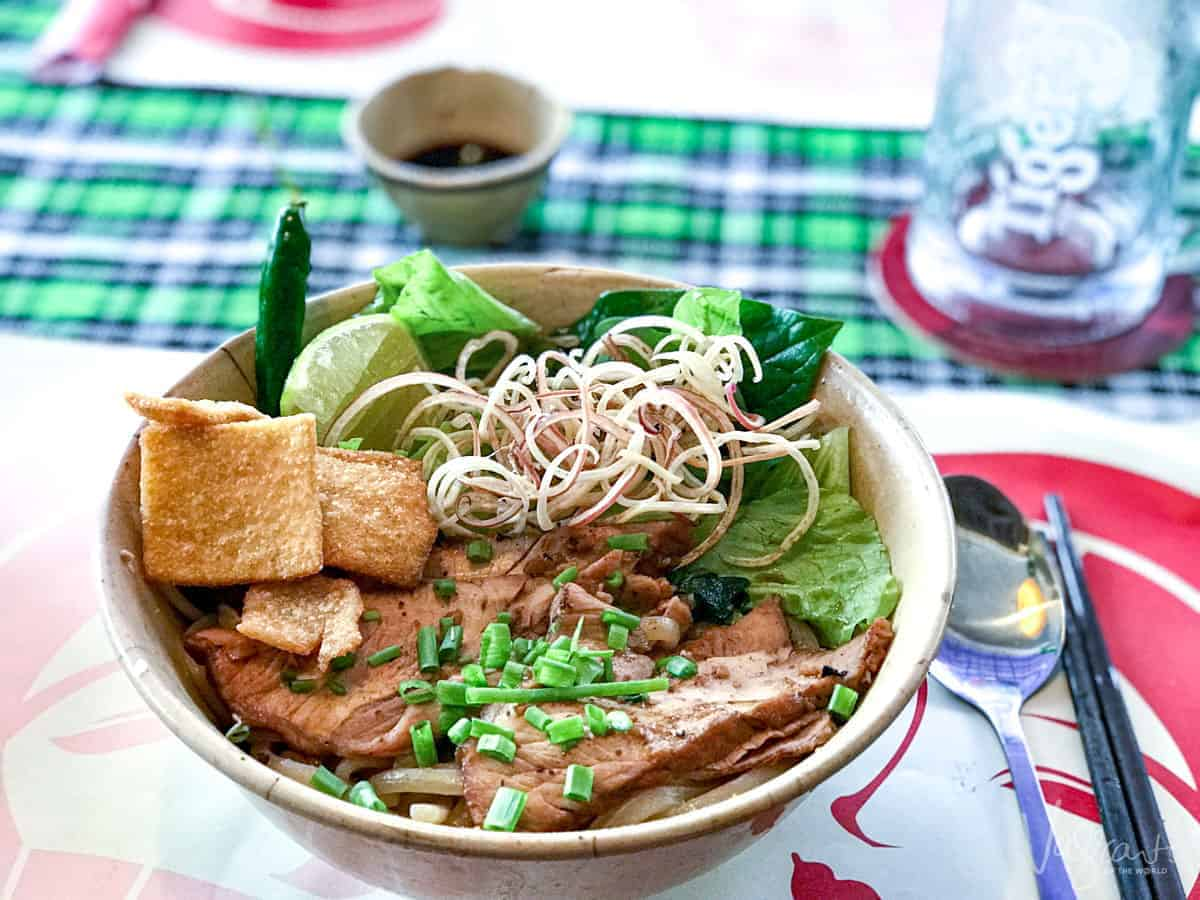 A bowl of Cao Lao. A typical pork and noodle dish from Hoi An, Vietnam