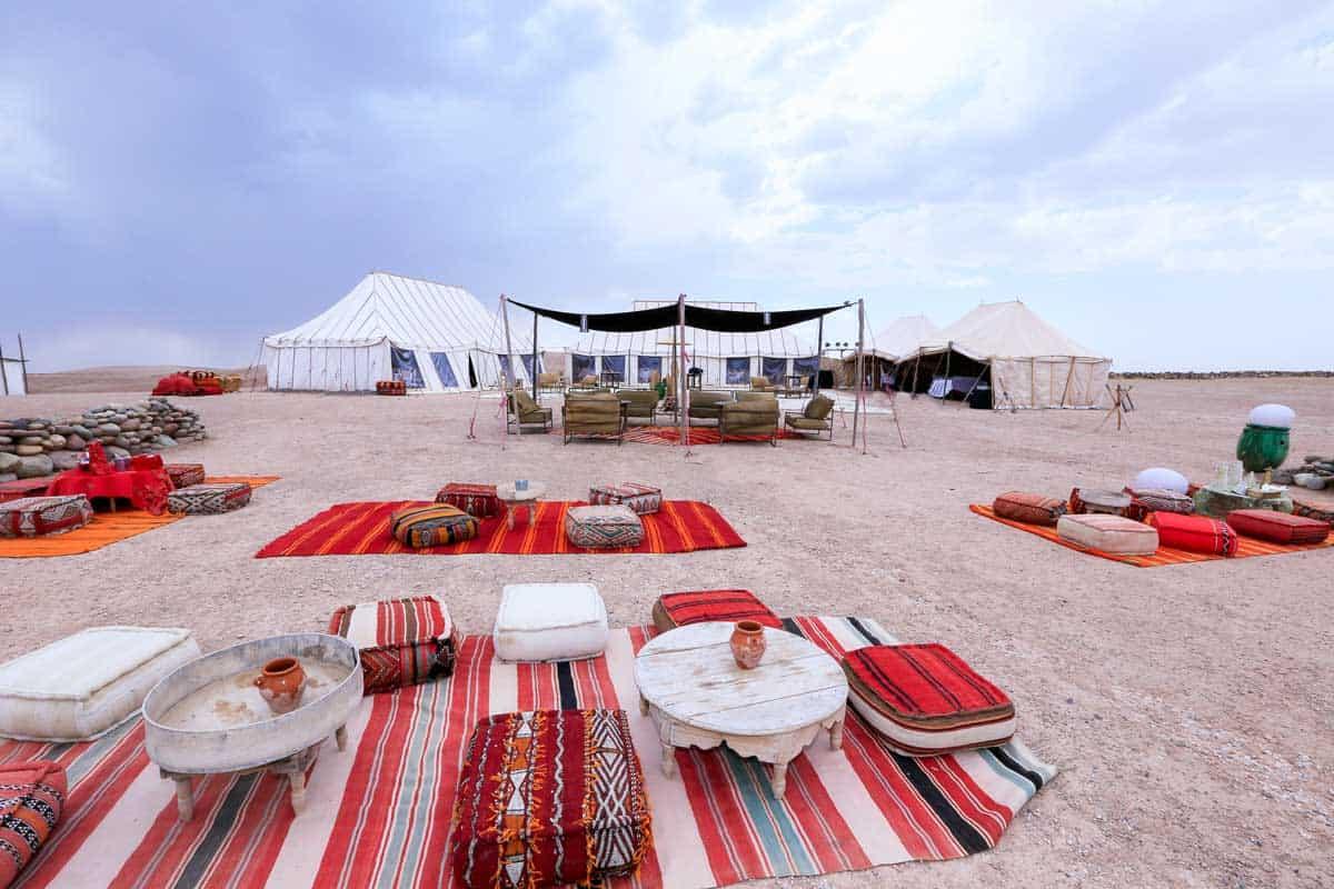 Luxury traditional Berber camp in the Agafay Desert near Marrakech