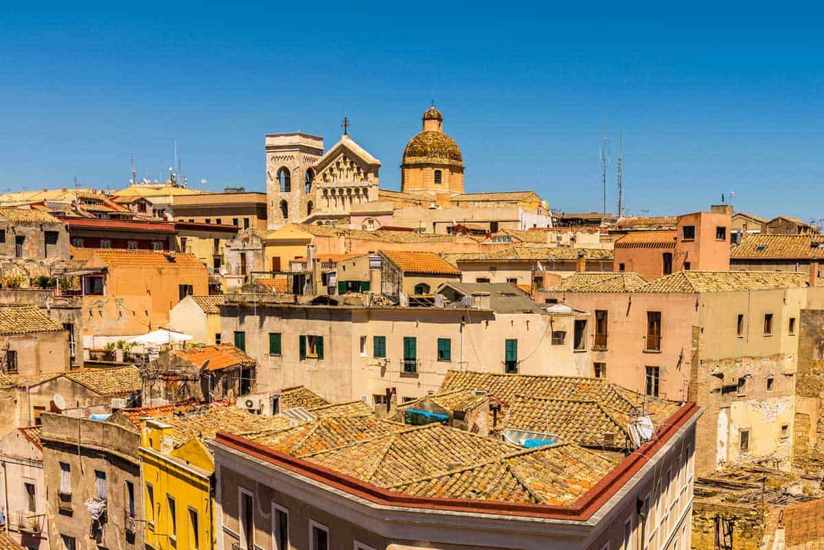 Cagliari, capital of Sardinia, roofs and houses of biggest city in Sardinia