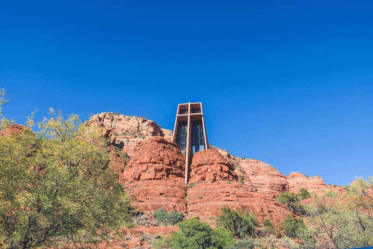 Looking up at the Chapel of the Holy Cross in Sedona. One of the biggest attractions in Sedona