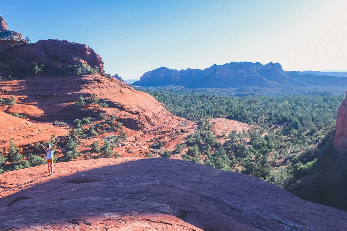 Looking out over the red rock landscape from Chicken point Overlook in Sedona. Part of a 3 day Sedona hiking itinerary.