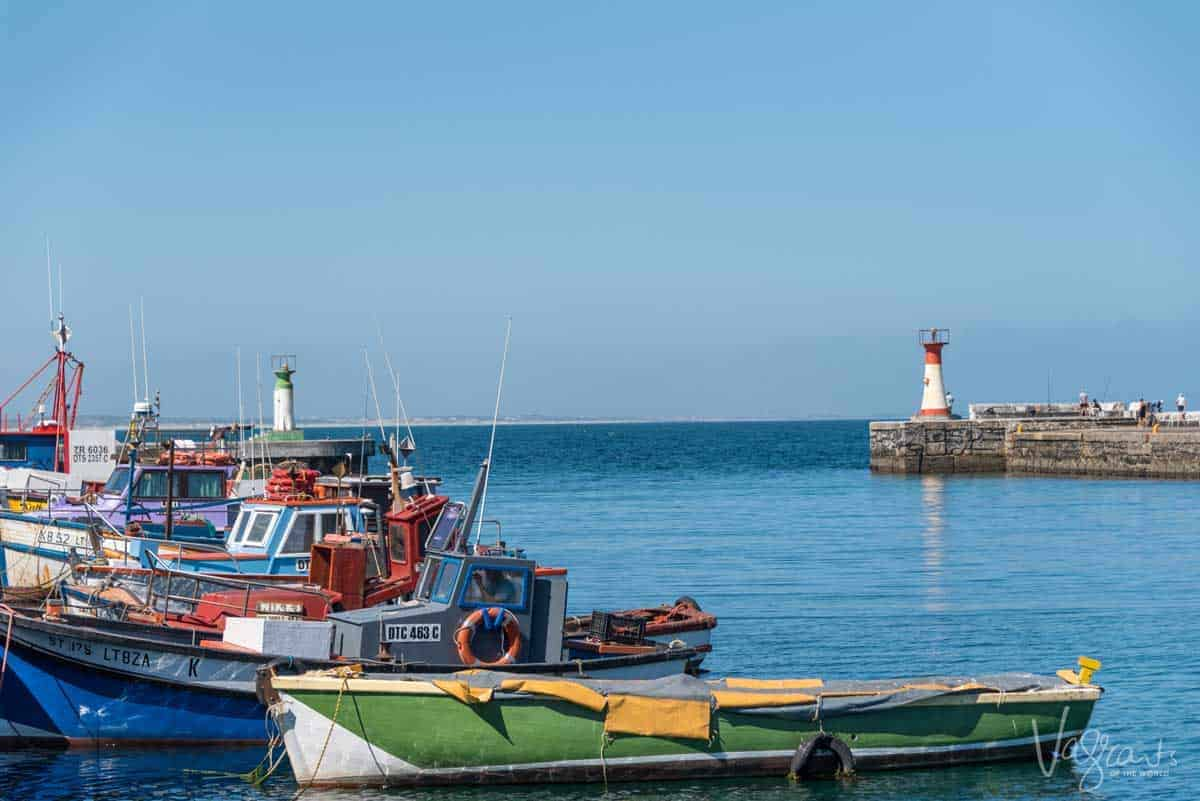 Colourful boats moored in Kalk Bay harbour. A popular place to stop for seafood at the many excellent restaurants