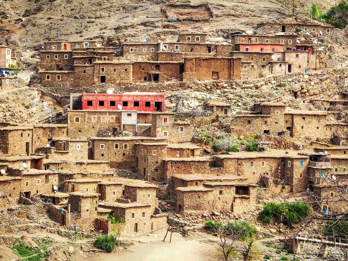 Mountain village clinging to the hillside, Atlas Mountains.