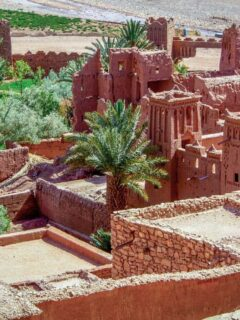 Day Trip to Ouarzazate and Ait Benhaddou is popular to see these red clay buildings of the ancient Kasbah which has appeared in many movies
