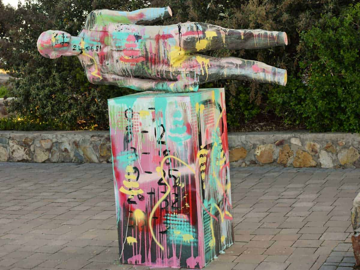 Art installatioins like this colourful sculpture along the Hermanus cliff path walk in South Africa