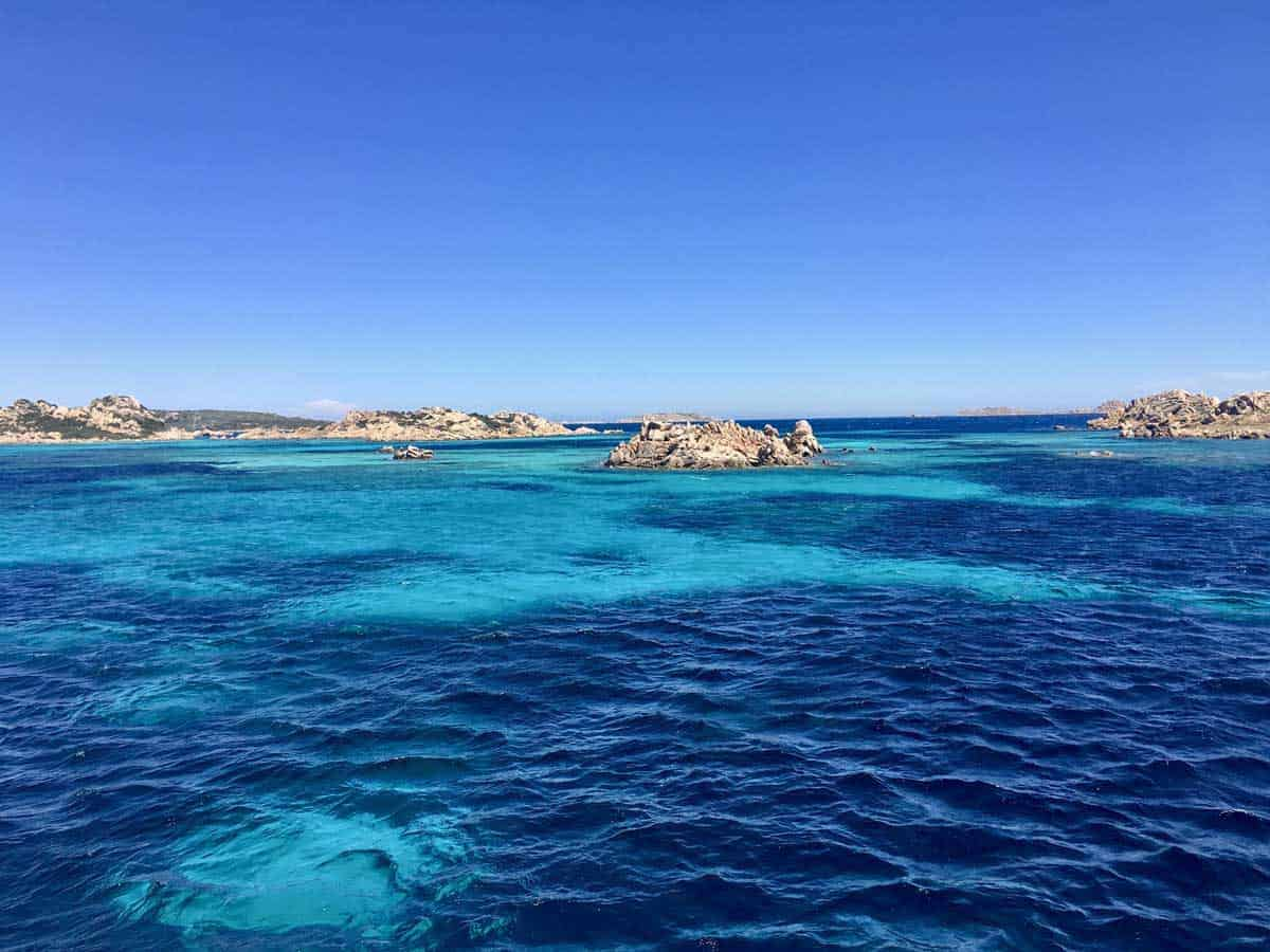 Looking across the stunning blue waters of the La Maddalena Archipelago in Sardinia.