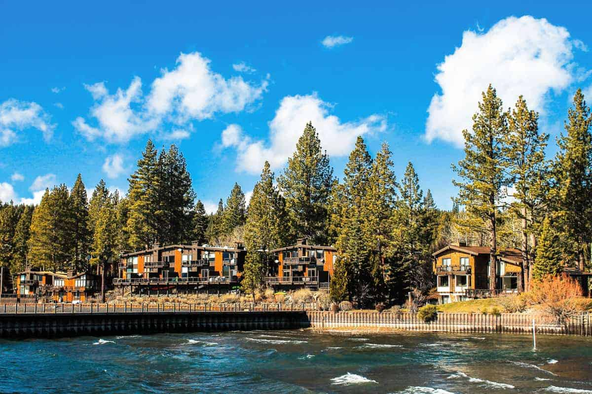Wooden chalet style accommodation in Lake Tahoe.