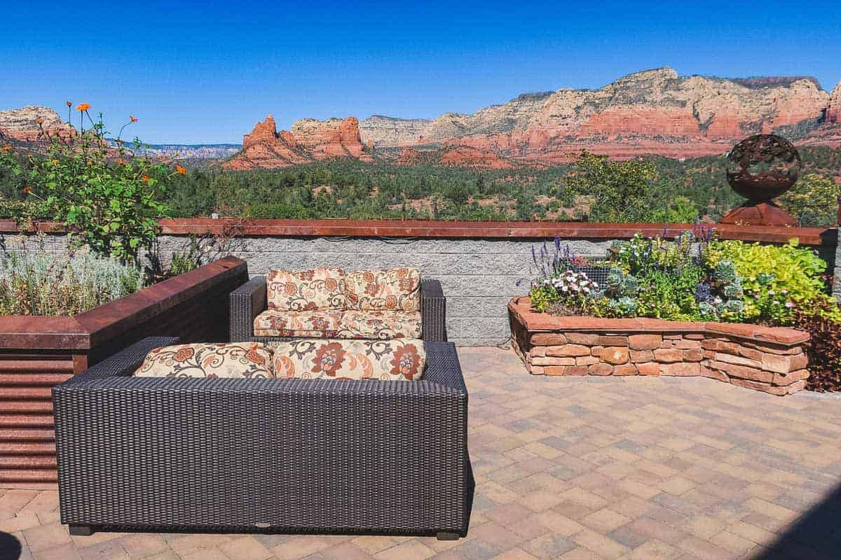 Looking over the outdoor terrace at the red rock landscape at Mariposa Latin Grill in Sedona