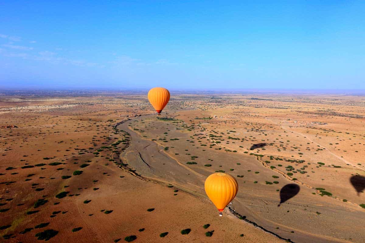 Hot air balloon ride across the desert of Morocco from Marrakech