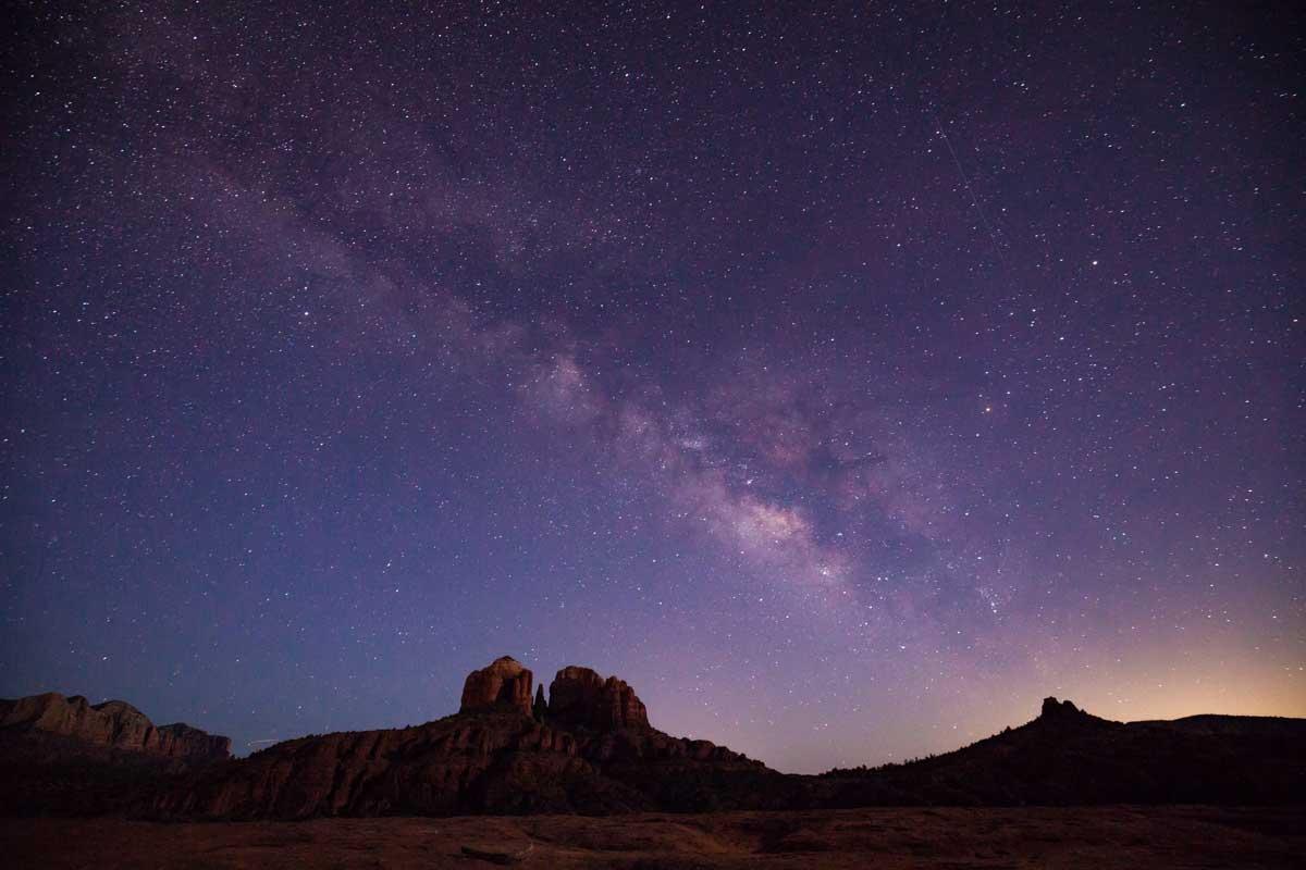 Starry night sky over Sedona
