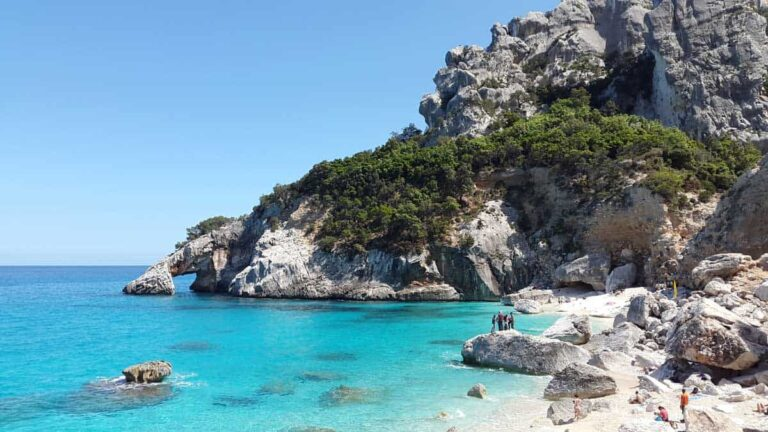The crystal clear waters and rugged landscape of Sardinia Italy.These views of Cala goloritze show some of the best beaches in Sardinia