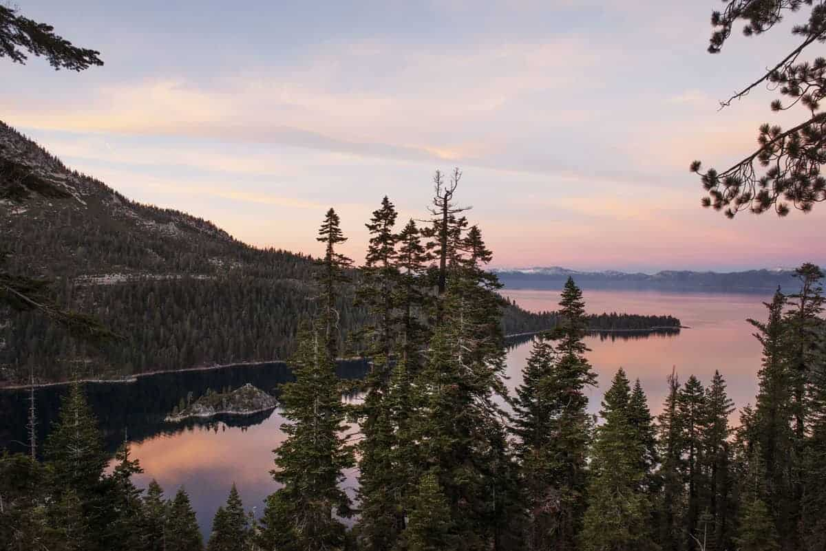 Lake Tahoe at dusk from a lookout