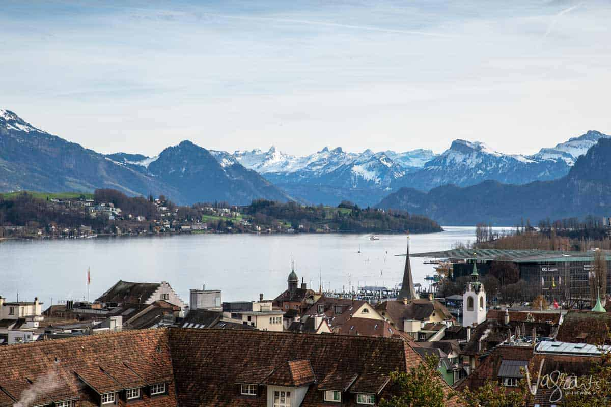 Lucerne town, the lake and Swiss Alps in the background