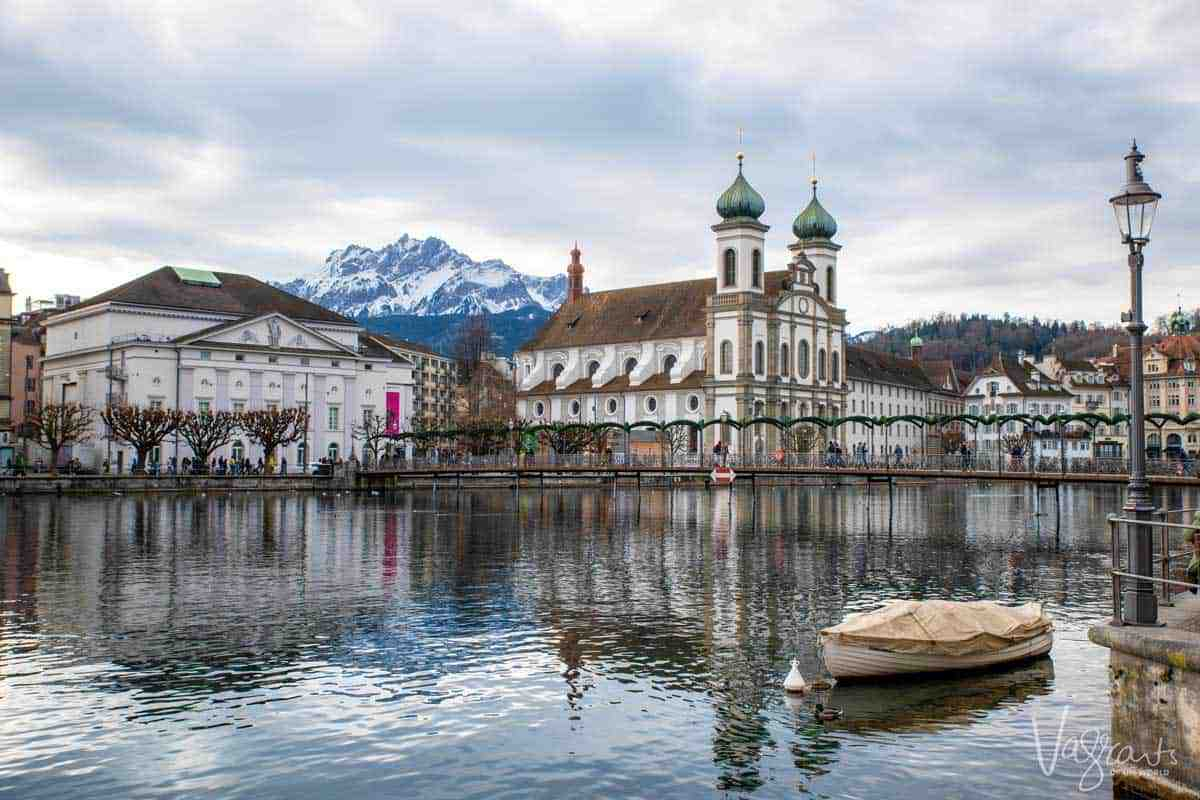 Jesuit Church on waterfront in Lucerne