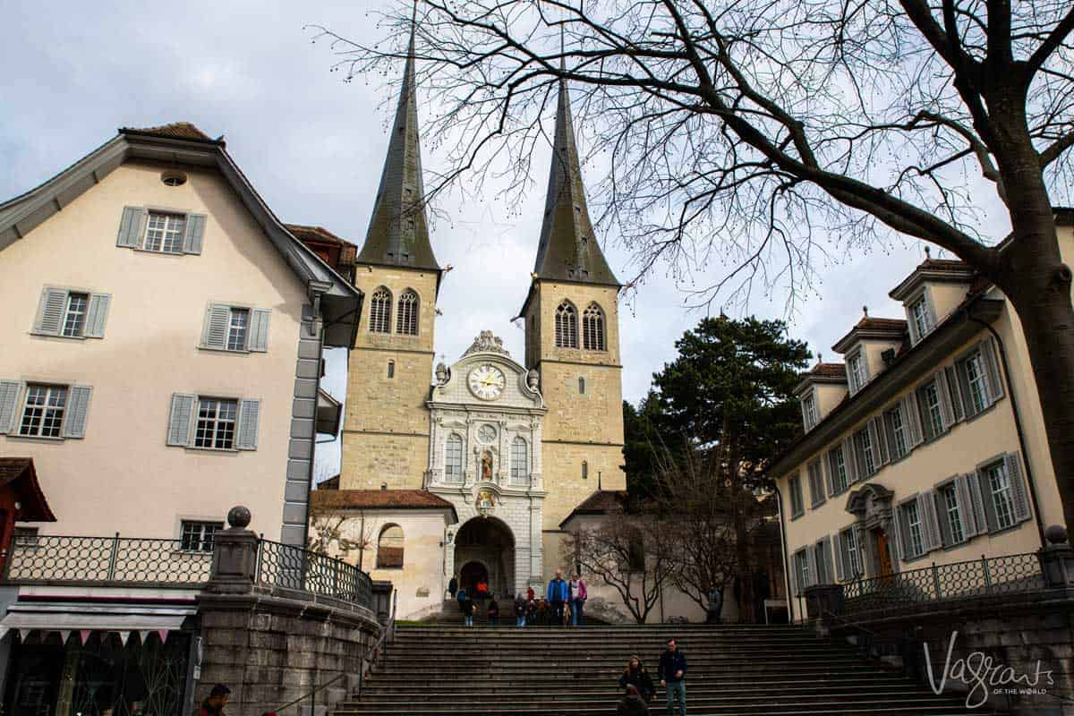 The twin spires of the Church of St. Leodegar in Lucerne.