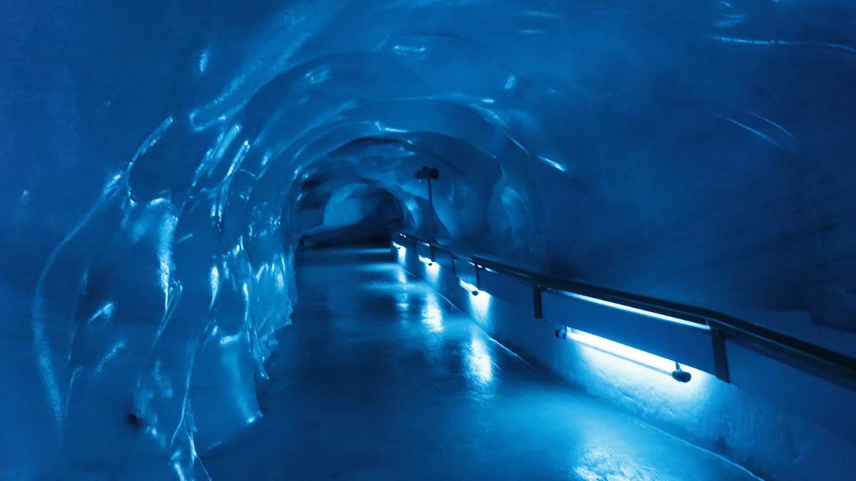 The blue tunnels inside the Glacier Cave on Mount Titlis.