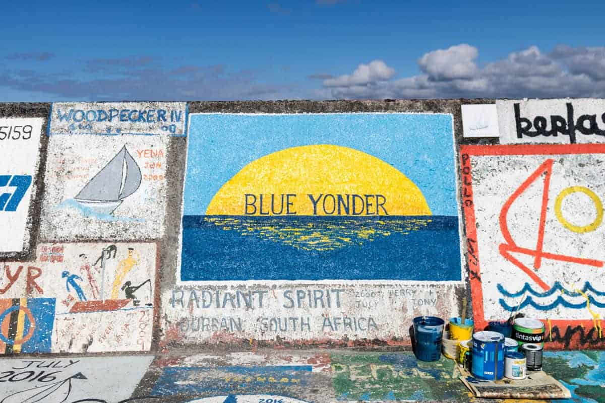 Blue yonder mural on the docks on Faial island.