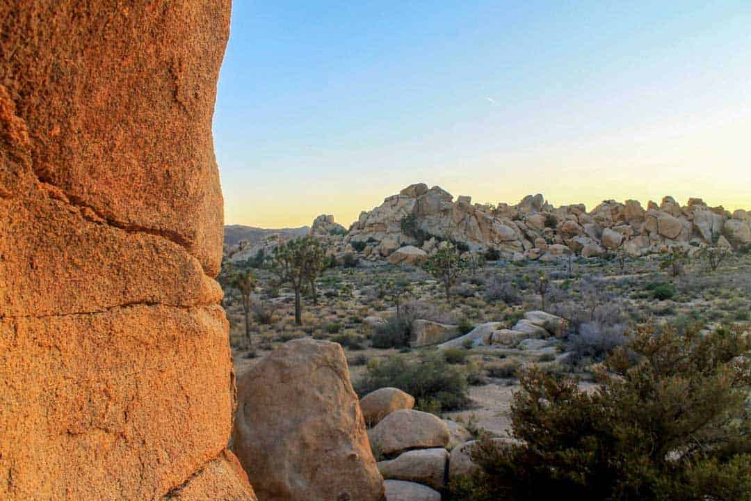 Rocky landscape at dusk at Hidden Valley in Joshua Tree National Park