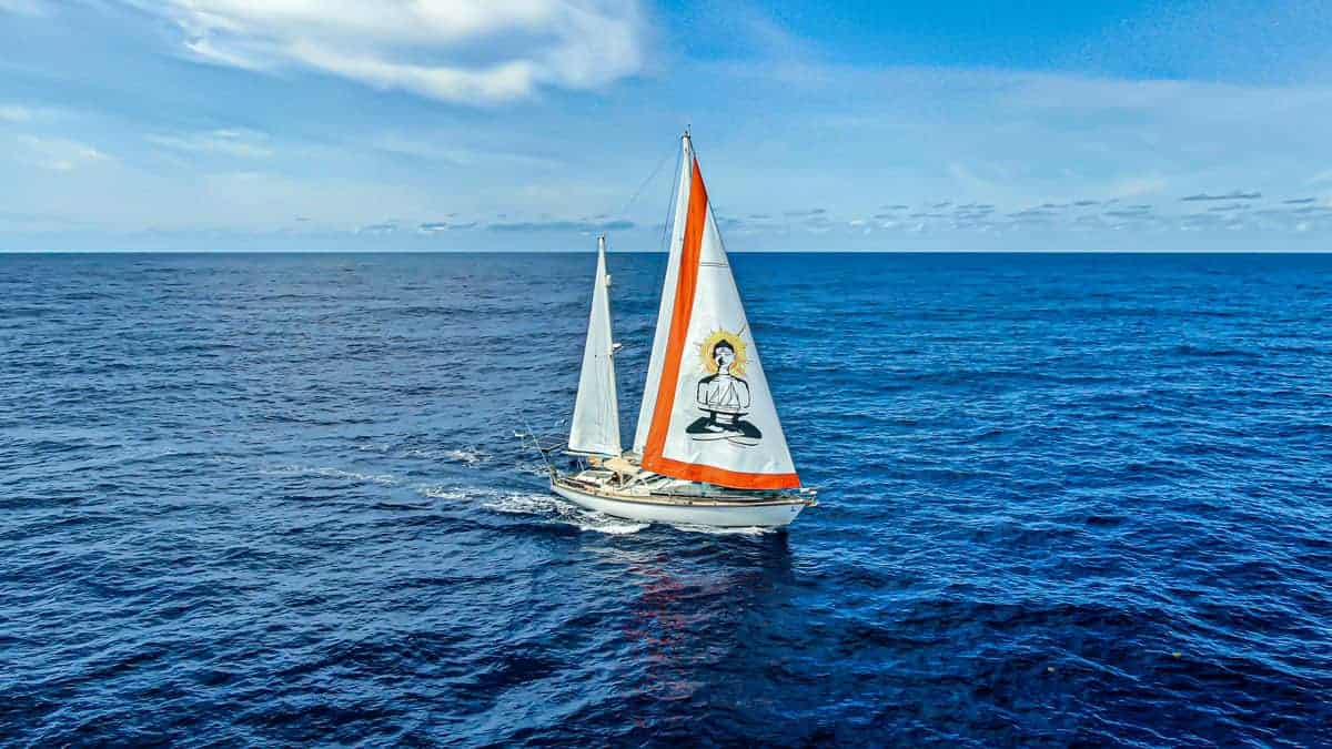 Yacht sailing on the blue ocean around the Azores