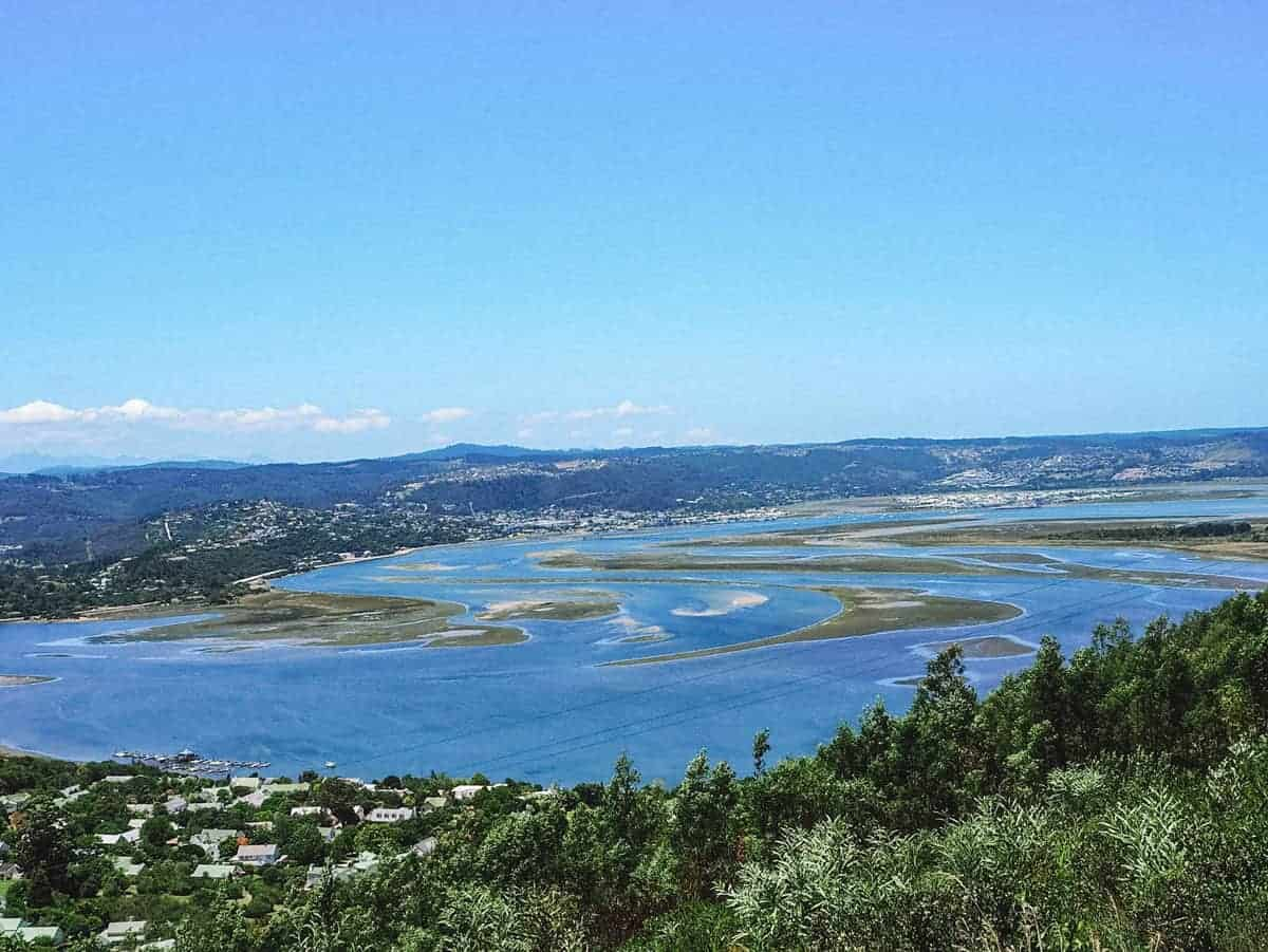 Knysna Lagoon with swirling green islands.