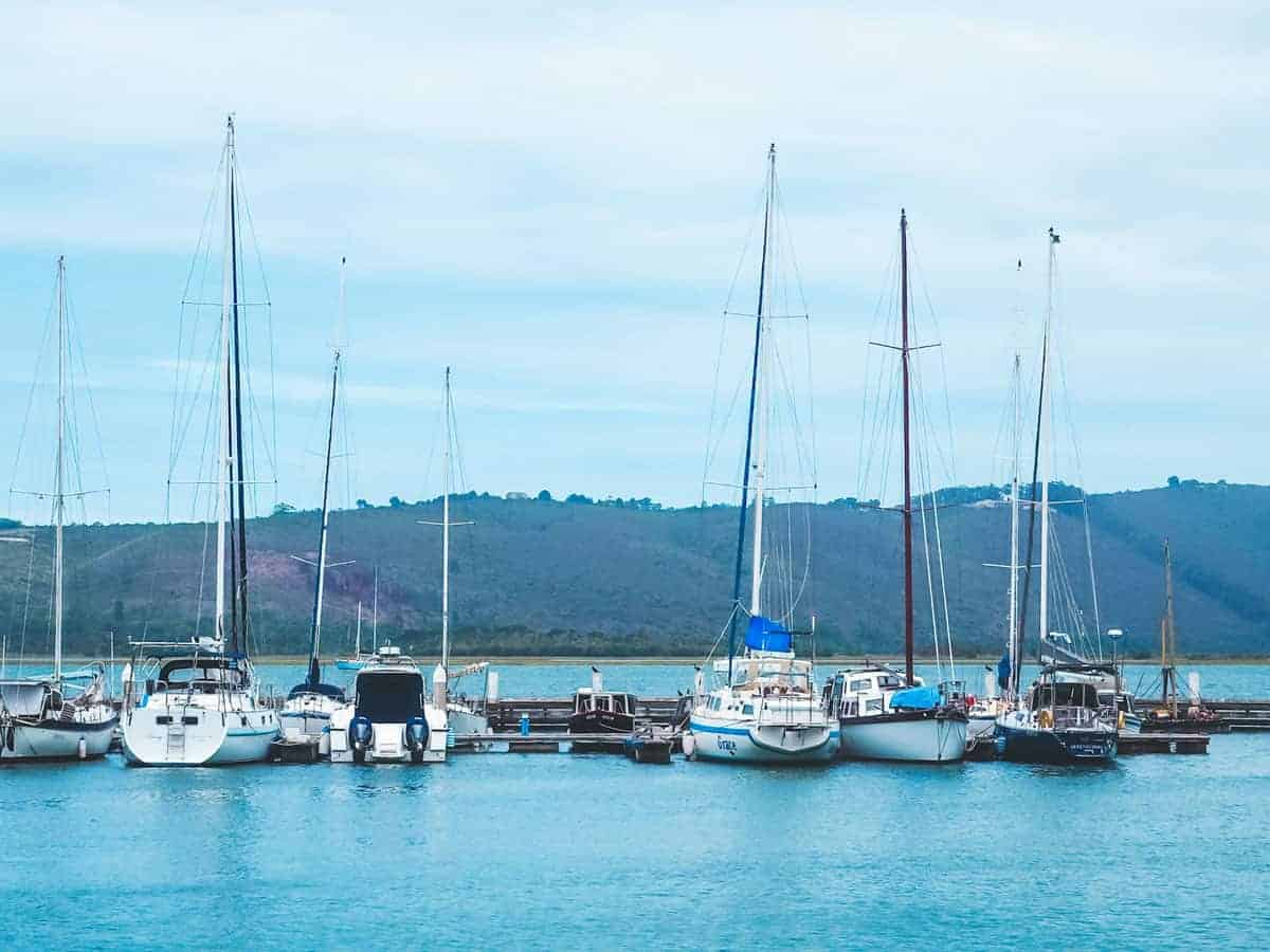 Yachts moored on the Knysna Waterfront