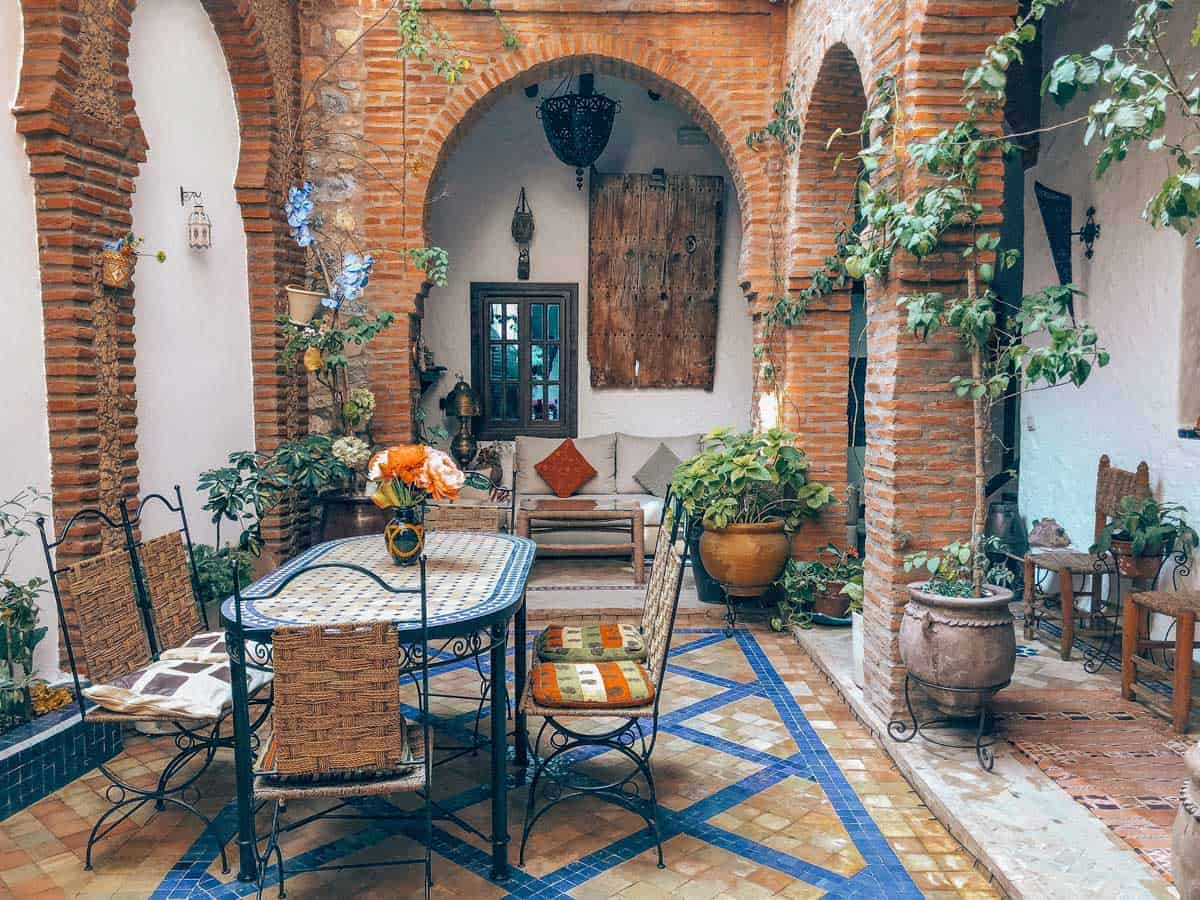 Metal and tiled dining area inside a Riad.