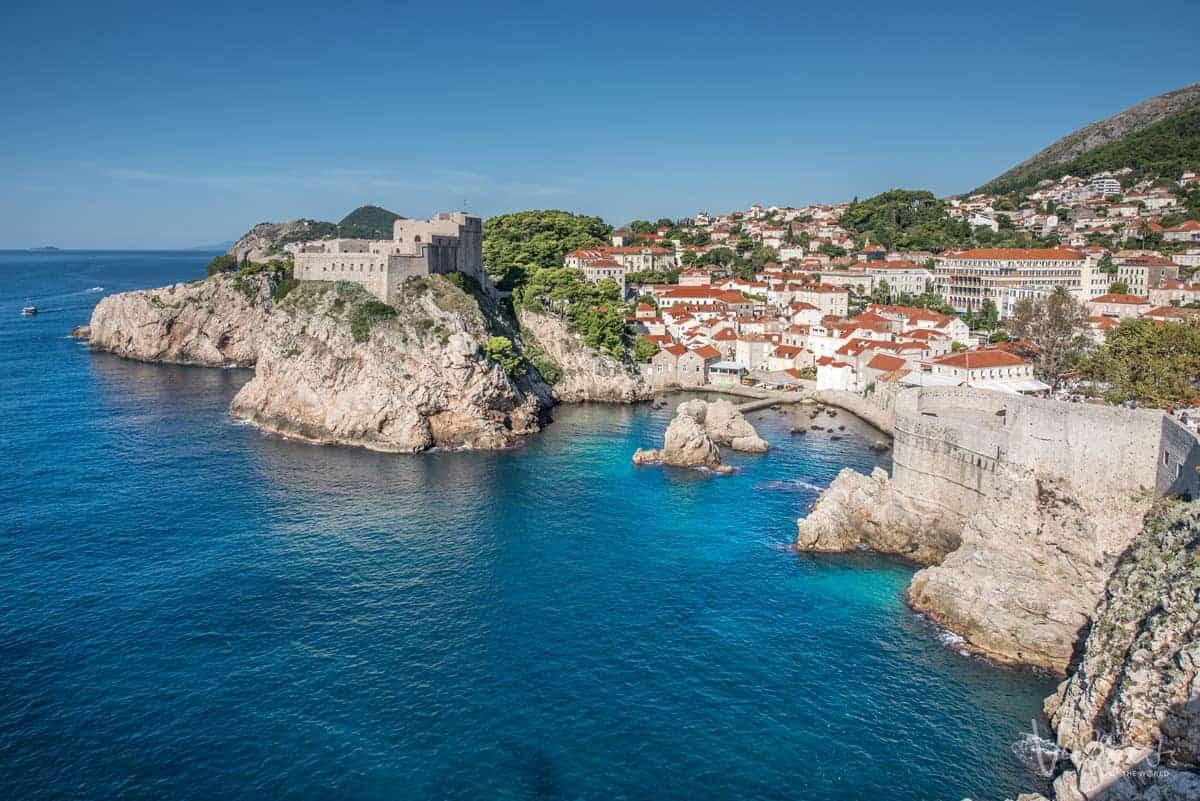 Clear blue waters around Dubrovnik's rocky coastline.