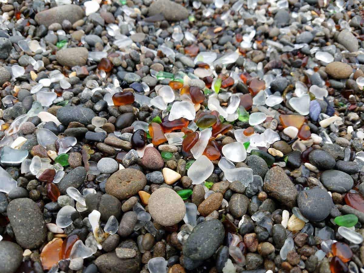 Multi coloured pebbles and sea glass at Glass Beach in Fort Bragg