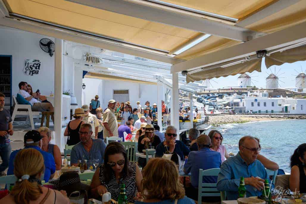 Restaurants on the water packed with tourists.