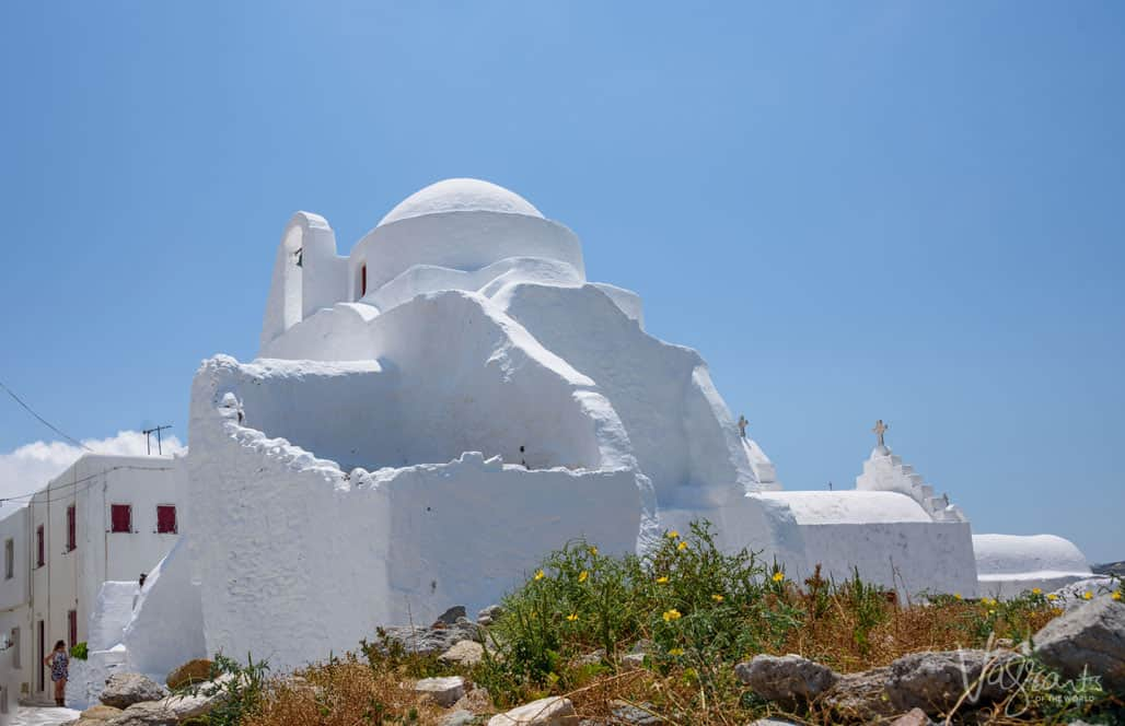 White Greek Panagia Paraportiani Church and ruins.